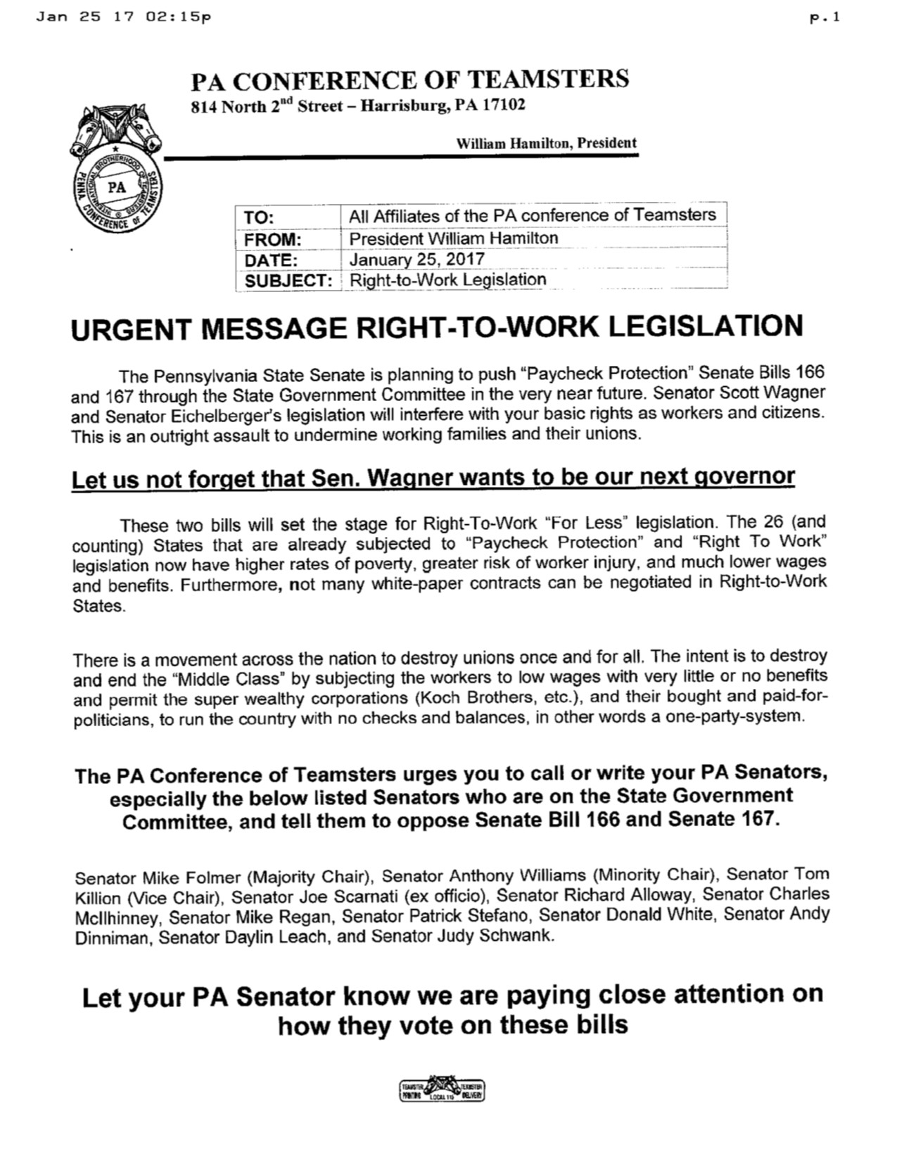 penn state college essay urgent tell senators not to vote for right to work
