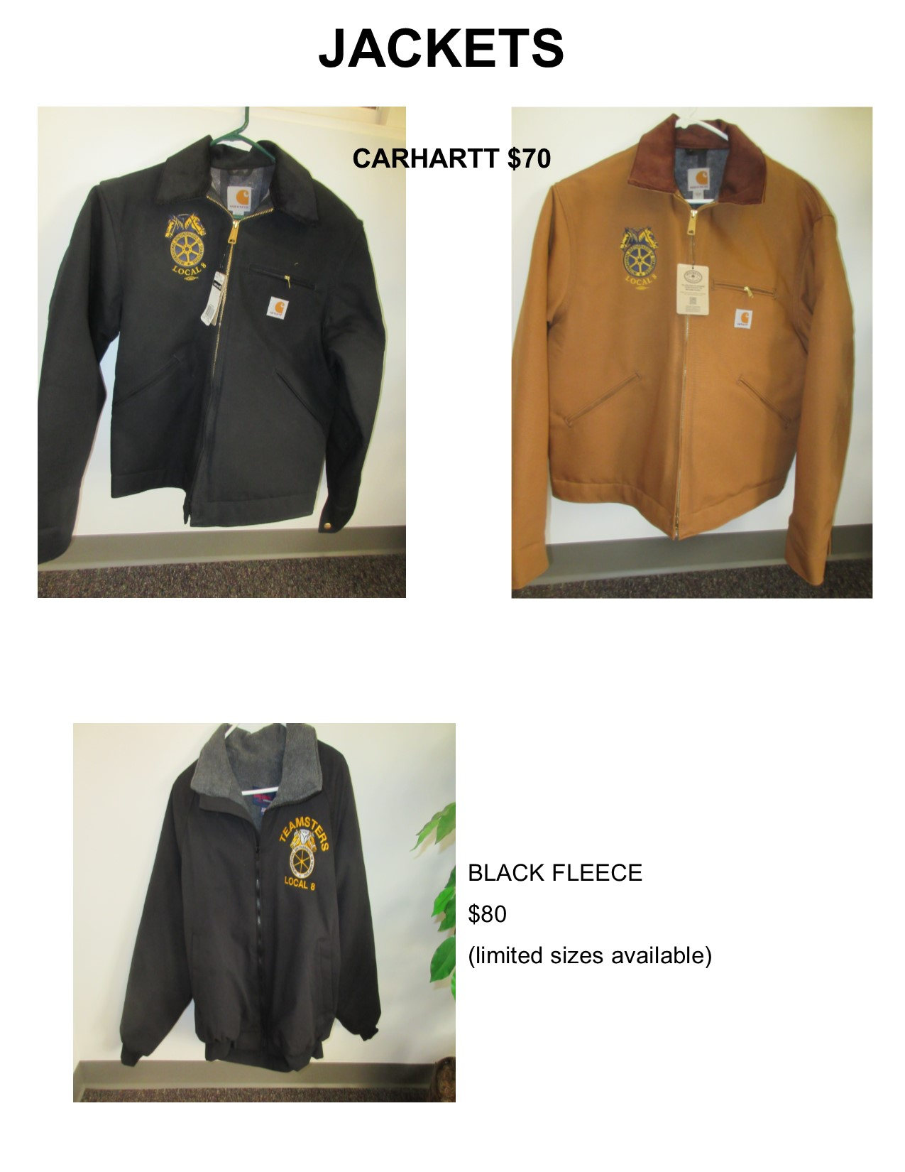 TEAMSTER ITEMS FOR SALE (Cash or check, no credit cards accepted)